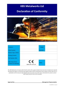 KBS 06-01 Certificate of Compliance Performance CEb